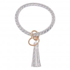 White color leather Big ring bangle Key Ring Key Chain tassel bracel