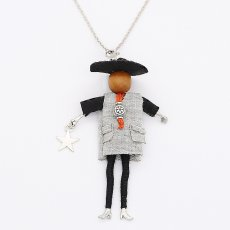 Fashion doll alloy necklace 68cm with rhinestones
