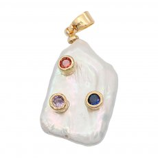 Natural pearl pendant comes with cute golden accessories007