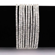 10 pcs/lot Rhinestones Sparkling Elastic Bracelet with 80pcs  white  clear crystal rhinestones