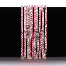 10 pcs/ lot Rhinestones Sparkling  Elastic Bracelet with 80pcs Rose color rhinestones