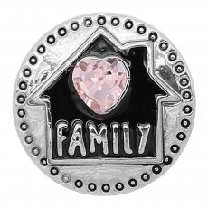 20MM Family snap silver Plated Pink heart-shaped rhinestones with Black enamel charms K9312 snaps jewelry