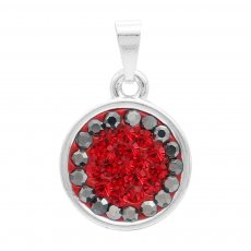 Pendant with gray and red rhinestones