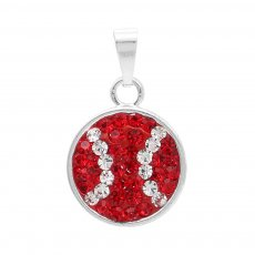 Pendant with White and red rhinestones baseball