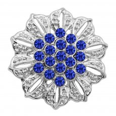 20MM Flowers snap silver Plated Blue rhinestones charms KC9314 snaps jewerly
