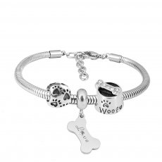 Stainless steel Charm Bracelet with 3 charms dog completed cartoon