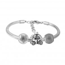 Stainless steel Charm Bracelet with 3 charms The pumpkin carriage completed cartoon