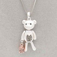 Fashion Pendant Necklace Shopping Bear with 72cm chain thick silver plating