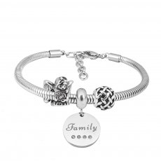 Stainless steel Charm Bracelet with 3 charms Family completed cartoon