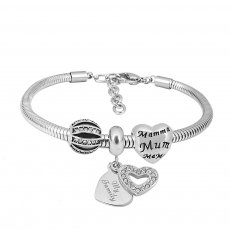 Pulsera con dijes de acero inoxidable con dijes 3 mom love cartoon completo