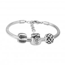 Stainless steel Charm Bracelet with 3 charms money completed cartoon