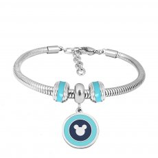 Stainless steel Charm Bracelet with blue 3 charms completed cartoon