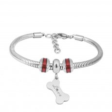 Stainless steel Charm Bracelet with Red dog bone 3 charms completed cartoon