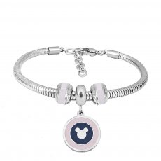 Stainless steel Charm Bracelet with pink 3 charms completed cartoon