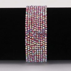 10 pcs/ lot Rhinestones Sparkling  Elastic Gun black Bracelet with 80pcs Rose colorful rhinestones