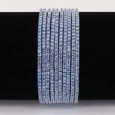 10 pcs/ lot Rhinestones Sparkling  Elastic Bracelet with 80pcs Light blue rhinestones