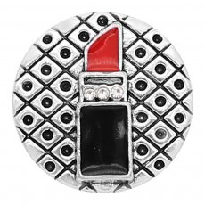 20MM snap silver Plated Lipstick Red and black enamel charms KC8133 snaps jewerly