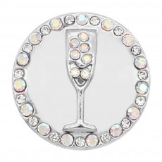 20MM goblet snap silver Plated With White  rhinestones charms KC8137 snaps jewerly