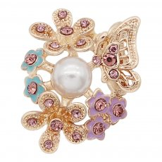20MM Butterflies and Flowers snap gold Plated With purple rhinestones and  pearls charms KC8154 snaps jewerly