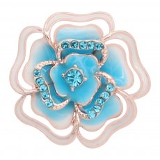 20MM snap Rose gold Plated  Flowers with blue rhinestones and enamel KC8160 snaps jewerly
