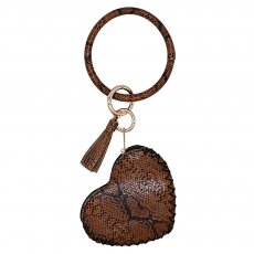Leather Key Ring Bangle with Leather Coin Wallet Key Chain tassel bracelet dark brown