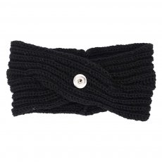 Winter Knit Headband fit 18mm snap button beige