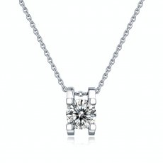 1 CT D 6.5mm Collar colgante de plata esterlina Moissanite Platino chapado 45CM cadena