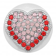 20MM Heart snap Silver Plated With pink  rhinestones  KC8179 snaps jewerly