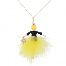 Fashion Feather doll alloy necklace 70cm with rhinestones