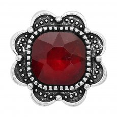 20MM design snap Silver Plated with red Rhinestone charms KC9381 snaps jewerly