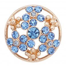 20MM snap gold plated Plated with blue Rhinestone KC8239 snaps jewerly