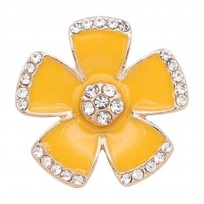 20MM snap gold Plated plated orange enamel with rhinestone  KC8308