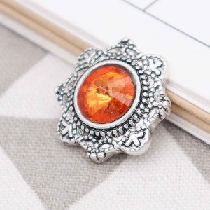 20MM design snap Silver Plated with  Orange  rhinestone KC7751 snaps jewelry