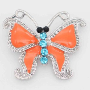 20MM Butterfly snap silver Plated with rhinestone and orange enamel KC6831 snaps jewelry