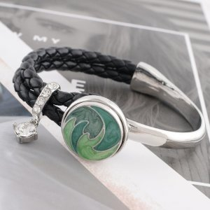 20MM design snap Silver Plated with green enamel KC6525 snap jewelry