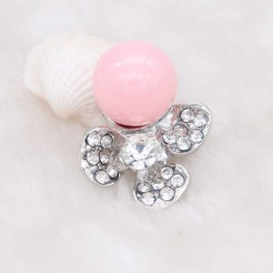 20MM design snap silver Plated with  rhinestone and  pink pearl KC6926 snaps jewelry