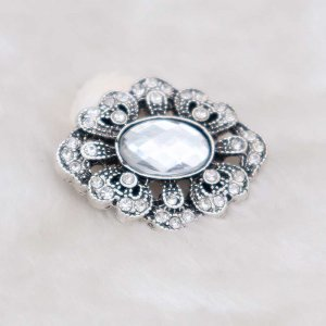 20MM design snap silver Plated with white rhinestone KC6933 snaps jewelry