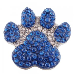 20MM Paws snap  Antique Silver Plated with blue rhinestone KC7192 snaps jewelry