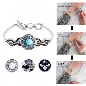 1 buttons snaps silver plated bracelet with Rhinestones fit snaps chunks KC0657