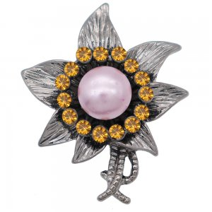 20MM Flowers design snap  Plated purple pearl KC7999 snaps jewelry