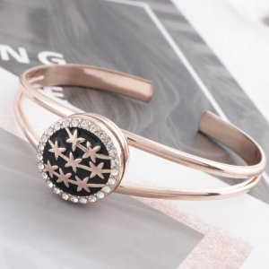 20MM star snap rose gold Plated with rhinestone and black enamel KC6524 snap jewelry