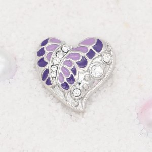 20MM  Butterfly snap Silver Plated with rhinestone and purple enamel KC7910 snaps jewelry