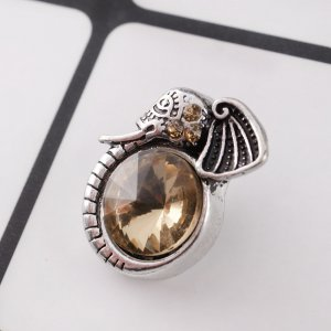 20MM Elephant snap Antique Silver Plated with light yellow rhinestone KC9078 snaps jewelry