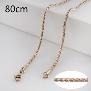 80CM rose gold Stainless steel fashion rope chain fit all jewelry