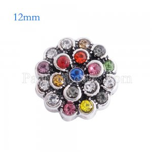 12MM flower snap Antique sliver Plated with Colorful rhinestone KS6125-S snaps jewelry