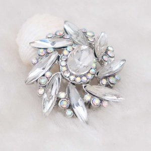 20MM design snap Silver Plated with white rhinestone KC7979 snaps jewelry