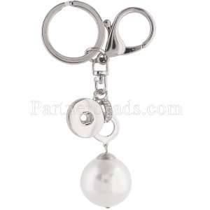 Alloy fashion Keychain with pearl and buttons fit snaps chunks KC1129 Snaps Jewelry