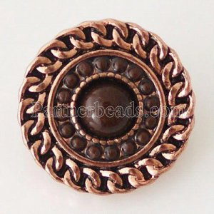 20MM Round snap Antique  Plated with small brown beads KB6290 snaps jewelry