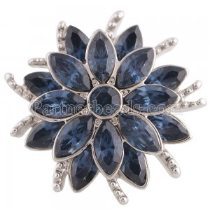 20MM design snap silver Antique plated with deep blue rhinestone KC5319 snaps jewelry