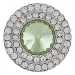 20MM Round snap Silver Plated with green rhinestone KC9883 snaps jewelry